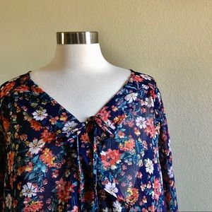 Mossimo Wrap Front Ruffled Sheer Floral Blouse *D5